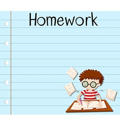 Paper design with boy doing homework vector image