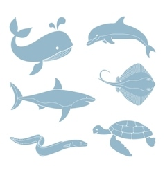 The silhouettes of sea creatures vector