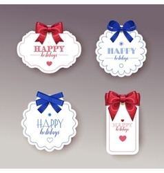 Beautiful cards with gift bows with ribbon vector