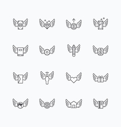 linear web icons set - wing concept collection vector image