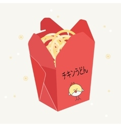 Red open box with chinese food vector