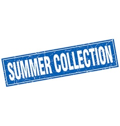Summer collection blue square grunge stamp on vector
