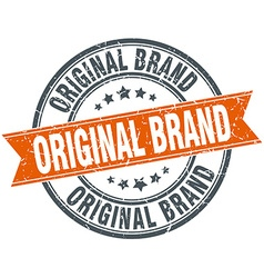 Original brand round orange grungy vintage vector