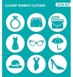 set of round icons white Elegant women s clothing vector image