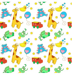 Baby objects seamless pattern vector