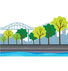 Background design with trees and buildings vector image
