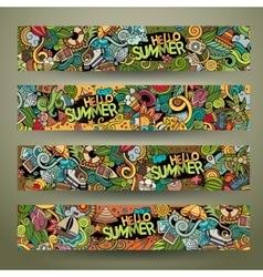 Cartoon doodles summer banners vector image vector image