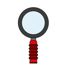 Color silhouette cartoon magnifying glass with red vector