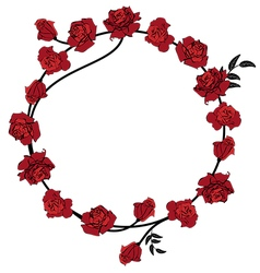 Floral red roses frame vector