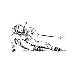 hand sketch skier vector image vector image