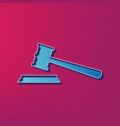 Justice hammer sign blue 3d printed icon vector