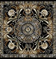 Meander mandala pattern square greek key frame vector