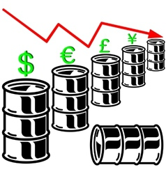 Oil barrel graph with red arrow pointing down vector