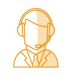 Orange silhouette shading of faceless guy customer vector