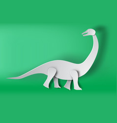 Paper art of apatosaurus dinosour on green vector
