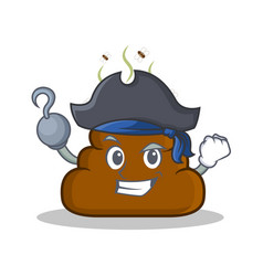 Pirate poop emoticon character cartoon vector