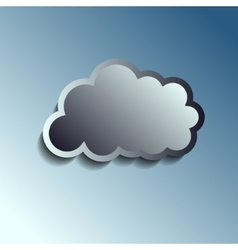 Realistic metal button - cloud icon vector