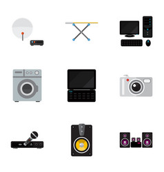 Set of 9 editable tech flat icons includes vector