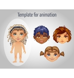 Set of four images of girls for animation vector image