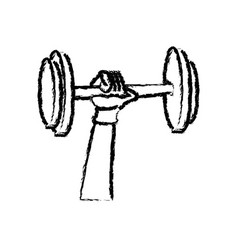 Sketch hand holding dumbbell strong sport vector