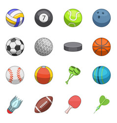 sport balls icons set cartoon style vector image vector image