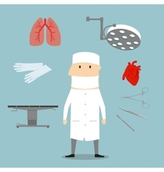 Surgeon profession and medical objects vector