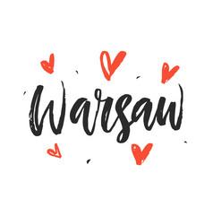 Warsaw modern hand written brush lettering vector