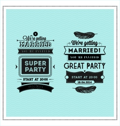Wedding stamps typography vector image vector image