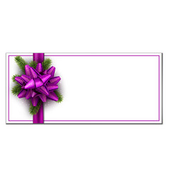white christmas banner with lilac bow vector image