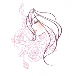 Women profile rose vector