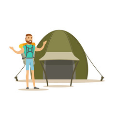 Young bearded man traveler with a backpack vector