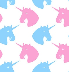 Unicorn seamless pattern Blue fabulous beast with vector image