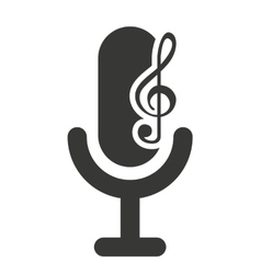Retro microphone with audio icon vector