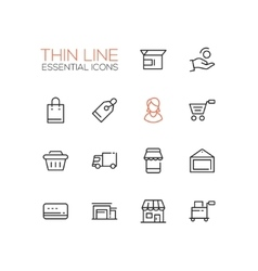 Shopping and delivery symbols - thick line design vector