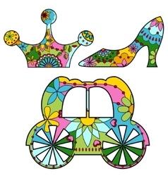 Cinderella set colorful vector image