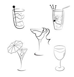 Set of cocktails and wines vector