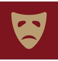 The sad mask icon tragedy and theater symbol vector