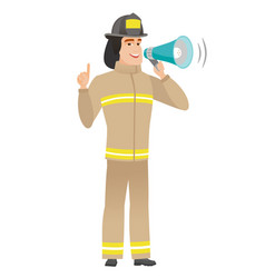 Young caucasian firefighter making announcement vector