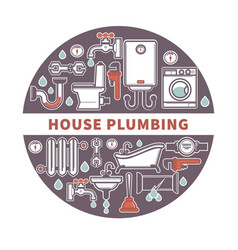 House plumbing firm label for promotion vector