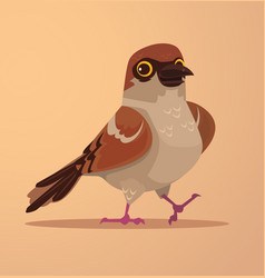 happy smiling cute sparrow character mascot vector image