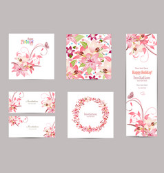 Collection of greeting cards with blossom lilies vector