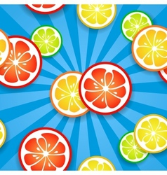 Slices of funny fresh citrus fruits on blue beams vector