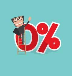 Businessman reach a zero percent interest symbol vector