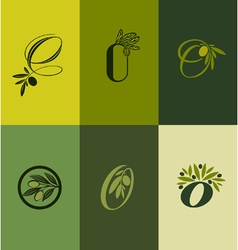 Olive tree branch set of labels vector