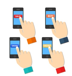 Shop hand hold touch screen on mobile phone vector