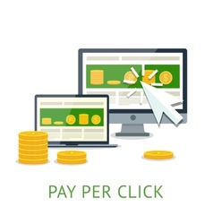 Pay per click with pc and notebook vector