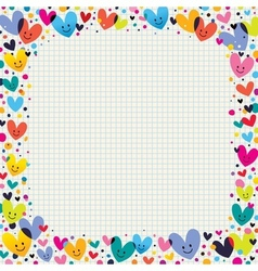 Cute hearts border vector