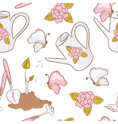 Gardening seamless pattern with butterfly vector
