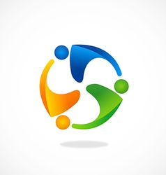 People group teamwork circle logo vector