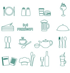 Restaurant and pub outline icons set eps10 vector